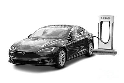 Photograph - Tesla Charging by Olivier Le Queinec