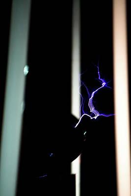 Photograph - Tesla Coil Energy by Tyson Kinnison