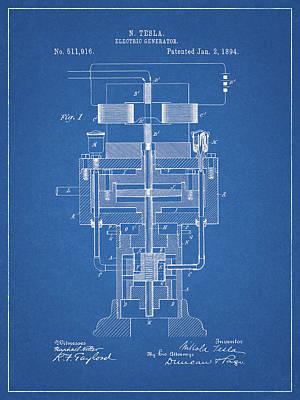 Drawing - Tesla Electric Generator Patent by Dan Sproul