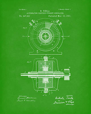 Drawing - Tesla Generator 1891 Patent Art Bright Green by Prior Art Design