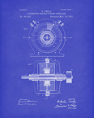 Drawing - Tesla Generator 1891 Patent Art Dark Blue by Prior Art Design
