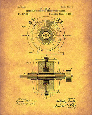 Drawing - Tesla Generator 1891 Patent Art Gold by Prior Art Design