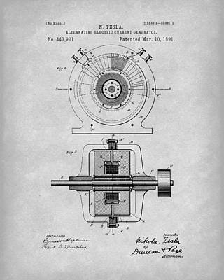 Drawing - Tesla Generator 1891 Patent Art Grey by Prior Art Design