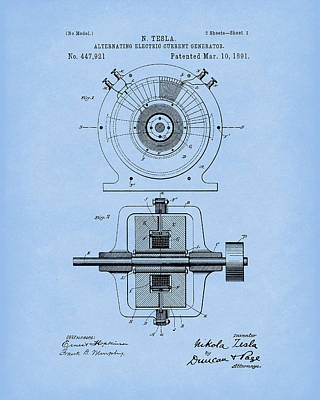Drawing - Tesla Generator 1891 Patent Art Light Blue by Prior Art Design