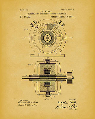 Drawing - Tesla Generator 1891 Patent Art Light Brown by Prior Art Design
