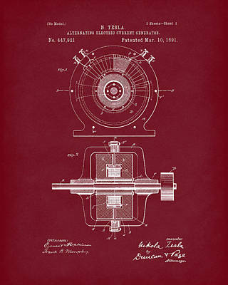 Drawing - Tesla Generator 1891 Patent Art Red Dark by Prior Art Design