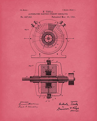 Drawing - Tesla Generator 1891 Patent Art Red by Prior Art Design