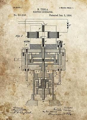 Tesla Generator Patent Art Print by Dan Sproul