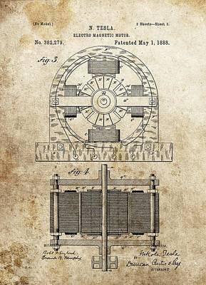 Tesla Magnetic Motor Patent Art Print by Dan Sproul