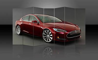 Mixed Media - Tesla Model S by Marvin Blaine
