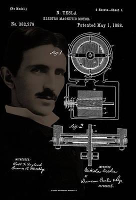 Photograph - Tesla Motor Patent Drawing by Carlos Diaz