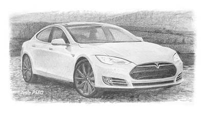 Drawing - Tesla P58d Electric Car Pencil Drawing by Mike Theuer