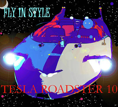 Mixed Media - Tesla Roadster 10 by David Lee Thompson
