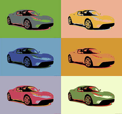 Mixed Media - Tesla Roadster Pop Art by Dan Sproul