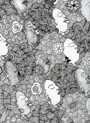 Drawing - Tessellated Afros  by Unicia Buster