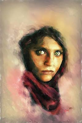 Digital Art - Afghan Girl by Charlie Roman