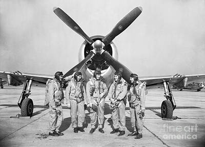 Royalty-Free and Rights-Managed Images - Test Pilots Stand In Front Of A P-47 by Stocktrek Images