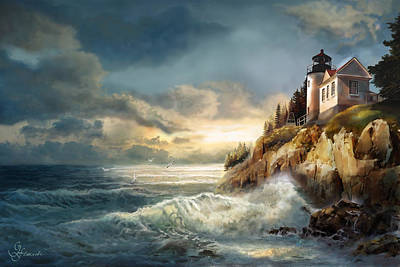 Fading Light, Bass Harbor Head Lighthouse  Art Print