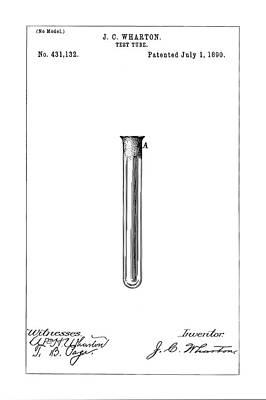 Test Tube Digital Art - Test Tube Patent - Patent Drawing For The 1890 Test Tube By J. C. Wharton by Jose Elias - Sofia Pereira