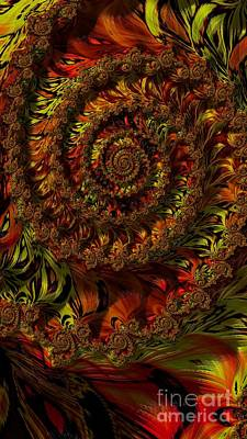Digital Art - Spiraling Autumn Leaves  by Elizabeth McTaggart