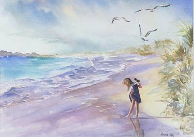 Water Scene Painting - Testing The Waters by Laura Lee Zanghetti