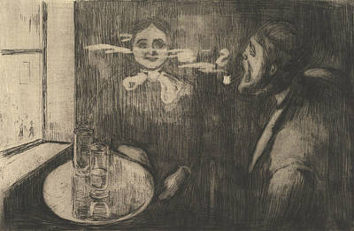Munch Relief - Tete-a-tete by Edvard Munch