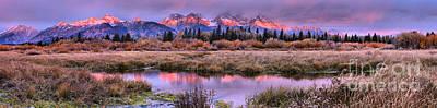 Photograph - Teton Autumn Pink And Purple Sunrise Panorama by Adam Jewell