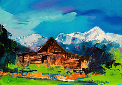 Abstract Landscape Painting - Teton Barn  by Elise Palmigiani