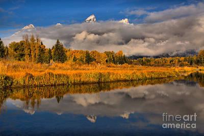 Photograph - Teton Fall Foliage And Fog by Adam Jewell