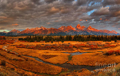 Photograph - Teton Fall Foliage And Storm Clouds by Adam Jewell