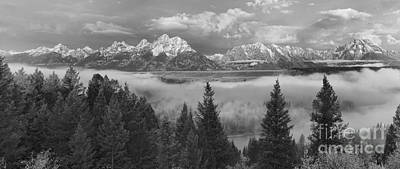 Photograph - Teton Foggy Morning Over The Snake River Black And White by Adam Jewell