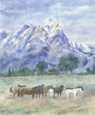 Teton Drawing - Teton Horses by Pat Schermerhorn