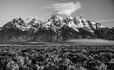 Teton Morning Fog And Clouds Art Print by Darren White