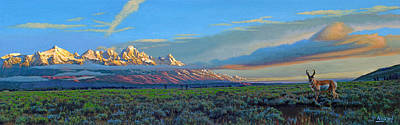 Teton Painting - Teton Morning by Paul Krapf