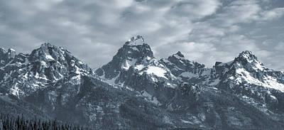 Photograph - Teton Mountain Range Blue Monochrome by Dan Sproul