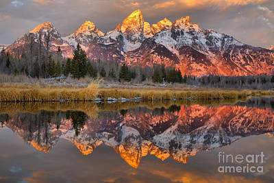 Teton Mountains Sunrise Rainbow Art Print