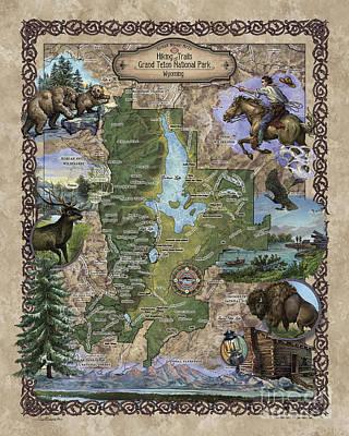 Painting - Teton National Park Map by Lisa Middleton