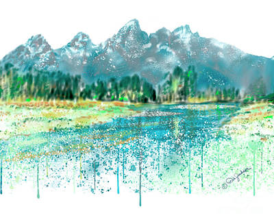Digital Art - Teton National Park Skyline Painting I by Dale E Jackson