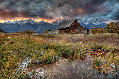 Grand Tetons Wall Art - Photograph - Teton Nightfire At The Ta Moulton Barn by Ryan Smith