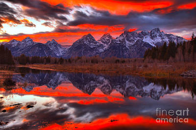 Photograph - Teton Orange Sunset Burst by Adam Jewell