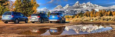 Photograph - Teton Parking Reflections by Adam Jewell