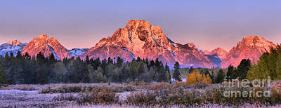 Photograph - Teton Peaks Over A Frosty Landscape by Adam Jewell
