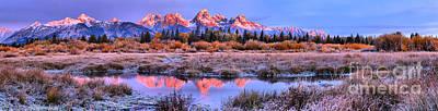 Photograph - Teton Pink Peaks Under Blue Skies Panorama by Adam Jewell