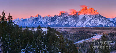 Photograph - Teton Pink Ridges Panorama by Adam Jewell