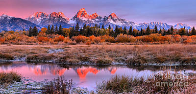 Photograph - Teton Pink Skies And Red Peaks by Adam Jewell
