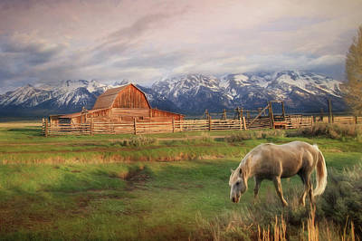 Barns Digital Art - Teton Ranch by Lori Deiter