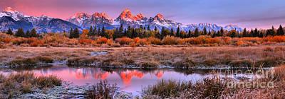 Photograph - Teton Red Peak Reflection Panorama by Adam Jewell