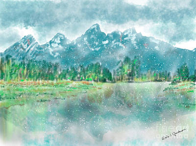 Digital Art - Teton Snow Reflections by Dale E Jackson