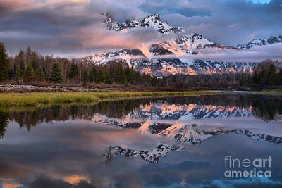 Photograph - Teton Spring Clouds And Fog by Adam Jewell