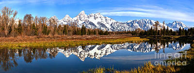 Photograph - Teton Spring Panoramic Reflections by Adam Jewell